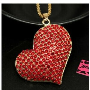 Betsey Johnson Red Heart Necklace NWT